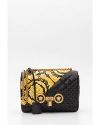 21c5fcdca40c Versace - Icon Shoulder Bag With Gold Hibiscus Motif - Lyst
