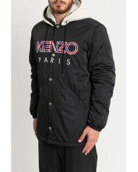 KENZO - Black Fur Parka Jacket - Lyst