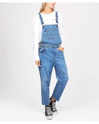Insight - Nelly Denim Chopped Length Dungaree Bright Blue - Lyst