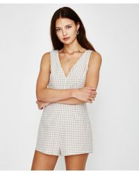 Alice In The Eve - Daria Gingham Plunge Playsuit Stone - Lyst