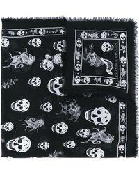 Alexander McQueen - Skull Printed Modal And Silk Scarf - Lyst