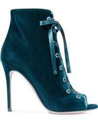 Gianvito Rossi - Marie Velvet Ankle Boots - Lyst