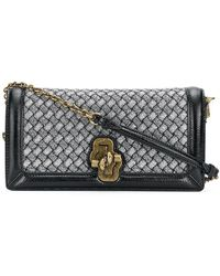 12d9b55671 Bottega Veneta Knitted Knot Leather Clutch in Black - Lyst