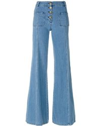Chloé - Scalloped High-rise Flared Jeans - Lyst