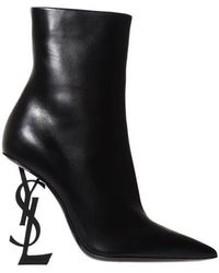 Saint Laurent - Opyum Ankle Boots In Leather With Black Heel - Lyst