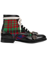 Gucci - Queercore Tweed And Leather Boots - Lyst