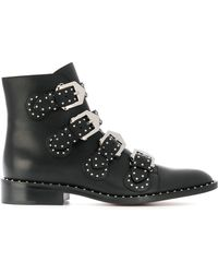 Givenchy - Studded Ankle Boots In Black Croc-effect Glossed-leather - Lyst