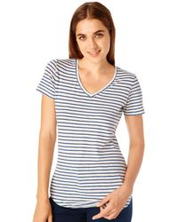 G.H. Bass & Co. - Striped V-neck Tee - Lyst
