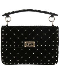 90b8d600195d Valentino - Valentino Rockstud Spike Bag In Velvet With Shoulder Strap And  Removable Handles - Lyst
