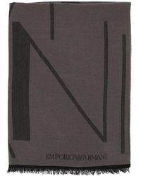 Emporio Armani - Sciarpa in pura lana con big logo - Lyst