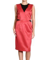 Bianchetti - Dress Sleeveless Satin + Tulle Insert - Lyst