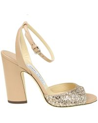 4764d89bf79fb Lyst - Jimmy Choo Papina Patent Leather Wedge Sandals in Natural