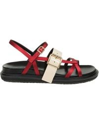 Marni - Fussbett Satin And Patent Leather Sandals - Lyst