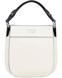 c90654deb4349a Prada - Margit Small Bag Bag In Bicolor Effect Leather With Monochrome Logo  - Lyst