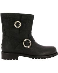 Jimmy Choo - Youth Biker Style Ankle Boots In Satin Leather With Maxi Jewel Buckles - Lyst