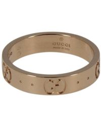 Gucci - Low Icon Ring 14 In Gold With Engraved gg - Lyst