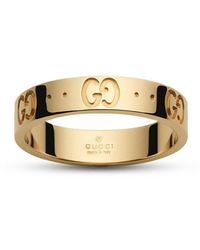 Gucci - Low Icon Ring 13 In Gold With Engraved gg - Lyst