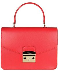 Furla - Metropolis S Bag In Textured Leather With Removable Handle And Shoulder Strap - Lyst