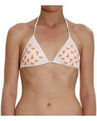 Patrizia Pepe - Swimsuit Swimwear Triangle Bicolor With Logo Fluo - Lyst