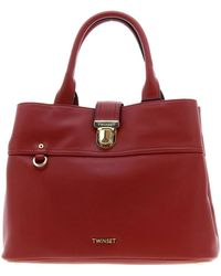 Twin Set Twin-set Large Tote Bag In Leather With Logo - Red