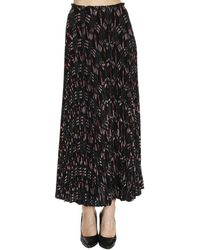 Valentino - Long Skirt In Crêpe De Chine With Plissé And Love Blades Pattern - Lyst