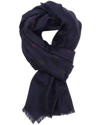 Gucci - 135 X 135 Cm Scarf In Pure Silk And Wool With Bee Pattern - Lyst