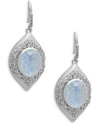 Armenta New World Eternity Hoop Drop Earrings with Diamonds paamaW