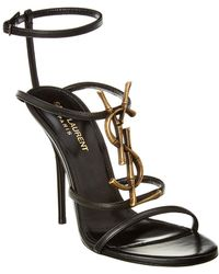 Saint Laurent - Cassandra 110 Leather Ankle Strap Sandal - Lyst