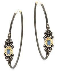 Armenta - Champagne Diamond & Gemstone Hoop Earrings - Lyst