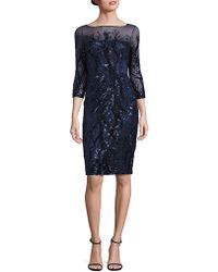 THEIA - Sequin Illusion Sheath Dress - Lyst