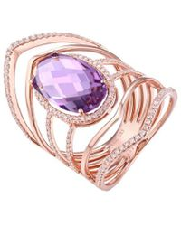Diana M. Jewels - . Fine Jewellery 14k Rose Gold 4.74 Ct. Tw. Diamond & Amethyst Ring - Lyst