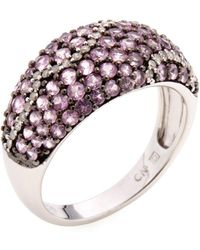 Rina Limor - Sterling Silver, Pink Sapphire & 0.18 Total Ct. Diamond Wave Dome Band Ring - Lyst