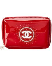 6c14b6414b0d Chanel - Red Vinyl Christmas Cc Cosmetic Pouch - Lyst. Chanel - Vintage  Black Leather Travel Bag ...