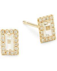 Suzanne Kalan 14k Emerald-Cut White Topaz Stud Earrings SZqz0ED