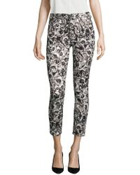 7 For All Mankind - Etched Floral-print Ankle Skinny Trousers - Lyst