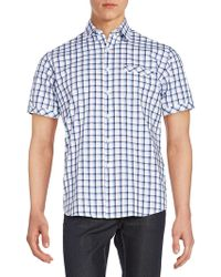 James Campbell - Regular-fit Windowpane Check Cotton Sportshirt - Lyst