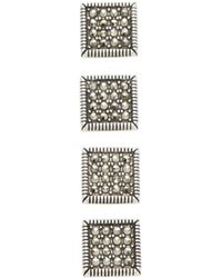 Jan Leslie - Stud Embellished Square Cufflinks - Lyst