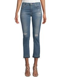 AG Jeans - Distressed High-rise Jeans - Lyst