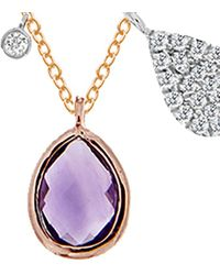 Meira T 14k Rose Gold 0.41 Ct. Tw. Diamond & Amethyst Necklace - Multicolour