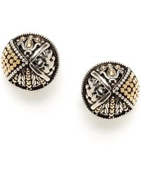 John Hardy - Mixed Media Gold & Silver Small Round Earrings - Lyst