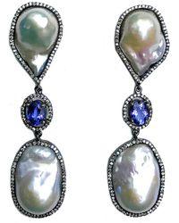 Arthur Marder Fine Jewelry - Silver Tanzanite & 14-22mm Pearl Drop Earrings - Lyst