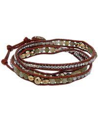 Chan Luu Silver Gemstone Wrap Bracelet