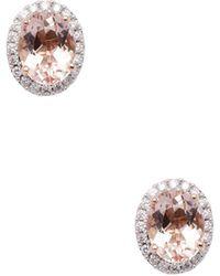 Rina Limor - 10k Rose Gold Morganite & Diamond Halo Stud Earrings - Lyst