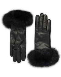 Surell - Leather & Rabbit Fur Gloves - Lyst