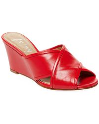 French Sole - Floral Leather Wedge Sandals - Lyst