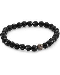 Bavna - Black Spinel And Champagne Diamonds Bead Bracelet - Lyst