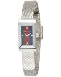a63429b1498 Lyst - Gucci G-frame 19mm Stainless Steel Watch With Diamonds ...