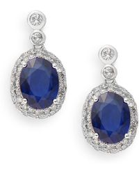 Effy - Sapphire, 0.84 Tcw Diamond & 14k White Gold Drop Earrings - Lyst