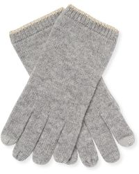 Sofia Cashmere - Lurex Trim Cashmere Touchscreen Gloves - Lyst