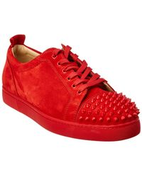 Christian Louboutin - Red Suede Louis Junior Spikes Trainers - Lyst